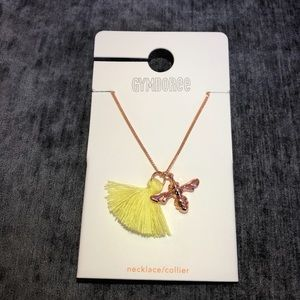 Gymboree Yellow Tassel & Rose Gold Bee NecklaceNWT